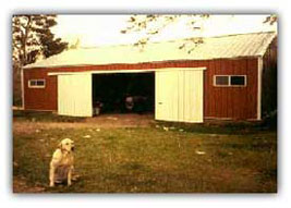 Dry Stock/Horse Barn and Tripper the dog